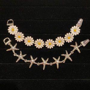 Liavy's Starfish & Daisy Link Bracelet - 2 LOT